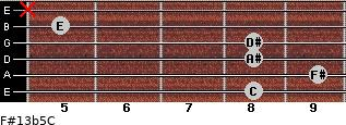 F#13b5/C for guitar on frets 8, 9, 8, 8, 5, x