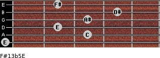F#13b5/E for guitar on frets 0, 3, 2, 3, 4, 2
