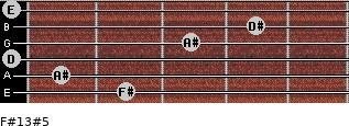 F#13#5 for guitar on frets 2, 1, 0, 3, 4, 0