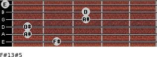 F#13#5 for guitar on frets 2, 1, 1, 3, 3, 0