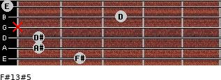 F#13#5 for guitar on frets 2, 1, 1, x, 3, 0