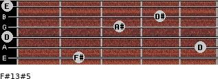 F#13#5 for guitar on frets 2, 5, 0, 3, 4, 0