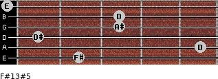 F#13#5 for guitar on frets 2, 5, 1, 3, 3, 0