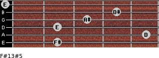 F#13#5 for guitar on frets 2, 5, 2, 3, 4, 0