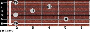 F#13#5 for guitar on frets 2, 5, 2, 3, 4, 2