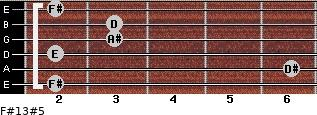 F#13#5 for guitar on frets 2, 6, 2, 3, 3, 2