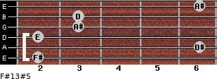 F#13#5 for guitar on frets 2, 6, 2, 3, 3, 6