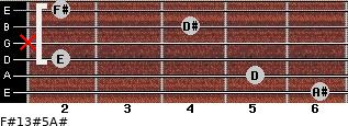 F#13#5/A# for guitar on frets 6, 5, 2, x, 4, 2