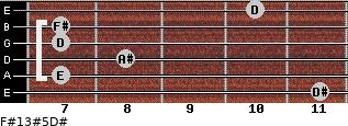 F#13#5/D# for guitar on frets 11, 7, 8, 7, 7, 10