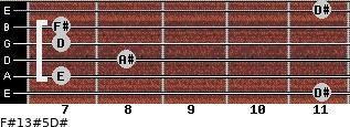 F#13#5/D# for guitar on frets 11, 7, 8, 7, 7, 11