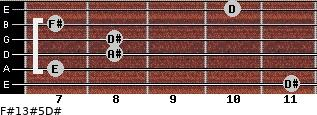 F#13#5/D# for guitar on frets 11, 7, 8, 8, 7, 10
