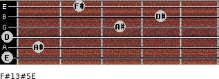F#13#5/E for guitar on frets 0, 1, 0, 3, 4, 2