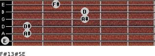F#13#5/E for guitar on frets 0, 1, 1, 3, 3, 2