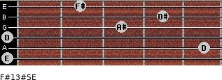 F#13#5/E for guitar on frets 0, 5, 0, 3, 4, 2