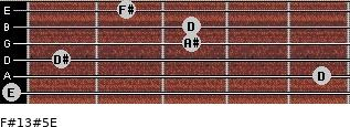 F#13#5/E for guitar on frets 0, 5, 1, 3, 3, 2