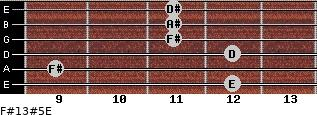 F#13#5/E for guitar on frets 12, 9, 12, 11, 11, 11