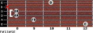 F#13#5/E for guitar on frets 12, 9, 8, 8, x, 10