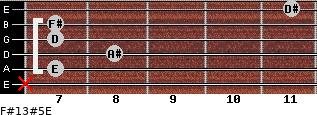F#13#5/E for guitar on frets x, 7, 8, 7, 7, 11