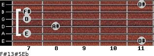 F#13#5/Eb for guitar on frets 11, 7, 8, 7, 7, 11