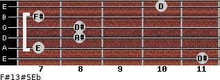 F#13#5/Eb for guitar on frets 11, 7, 8, 8, 7, 10