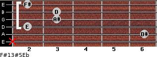 F#13#5/Eb for guitar on frets x, 6, 2, 3, 3, 2
