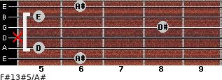 F#13#5/A# for guitar on frets 6, 5, x, 8, 5, 6