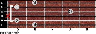 F#13#5/Bb for guitar on frets 6, 5, x, 8, 5, 6
