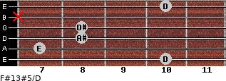 F#13#5/D for guitar on frets 10, 7, 8, 8, x, 10