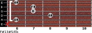 F#13#5/Eb for guitar on frets x, 6, 8, 7, 7, 6