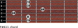 F#6/11 for guitar on frets 2, 2, 1, 3, 2, 2