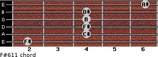 F#6/11 for guitar on frets 2, 4, 4, 4, 4, 6