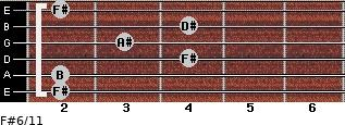 F#6/11 for guitar on frets 2, 2, 4, 3, 4, 2