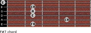 F#-7 for guitar on frets 2, 4, 2, 2, 2, 0