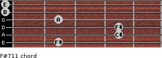 F#-7/11 for guitar on frets 2, 4, 4, 2, 0, 0