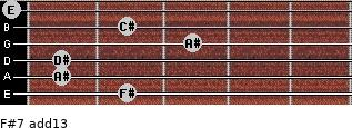 F#7(add13) for guitar on frets 2, 1, 1, 3, 2, 0