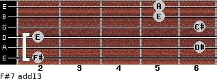 F#-7(add13) for guitar on frets 2, 6, 2, 6, 5, 5
