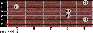 F#7(add13) for guitar on frets x, 9, 8, 8, 5, 9