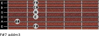 F#7 add(m3) for guitar on frets 2, 1, 2, 2, 2, 2