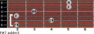 F#7 add(m3) for guitar on frets 2, 4, 2, 3, 5, 5