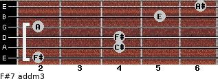F#7 add(m3) for guitar on frets 2, 4, 4, 2, 5, 6