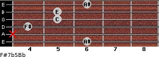 F#7b5/Bb for guitar on frets 6, x, 4, 5, 5, 6