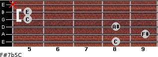 F#7b5/C for guitar on frets 8, 9, 8, 5, 5, x