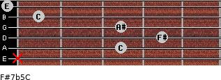 F#7b5/C for guitar on frets x, 3, 4, 3, 1, 0