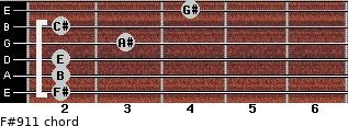 F#9/11 for guitar on frets 2, 2, 2, 3, 2, 4