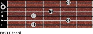 F#9/11 for guitar on frets 2, 4, 2, 3, 0, 4