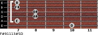 F#9/11/13#5/D for guitar on frets 10, 7, 8, 8, 7, 7