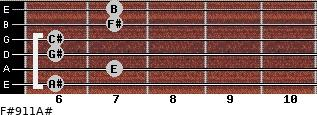 F#9/11/A# for guitar on frets 6, 7, 6, 6, 7, 7