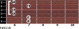 F#9/11/B for guitar on frets 7, 7, 6, 6, 7, 6