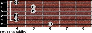 F#9/11/Bb add(b5) guitar chord