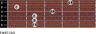 F#9/11b5 for guitar on frets 2, 2, 2, 3, 1, 4